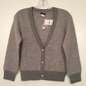 J. Crew Cashmere Wool Gray Cardigan Crystal Button
